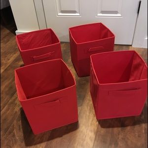 Other - Four red soft side storage bins